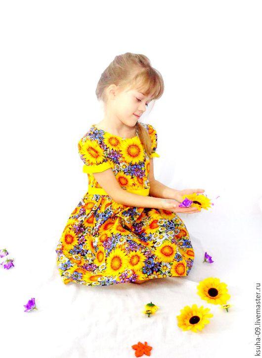 Одежда для девочек, ручной работы. Ярмарка Мастеров - ручная работа. Купить Платье Подсолнухи.. Handmade. Комбинированный, лето, платье солнце
