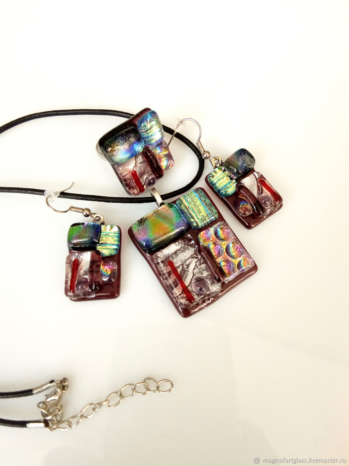 Jewelry sets: Night life glass jewelry, fusing glass, Jewelry Sets, Khabarovsk,  Фото №1