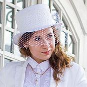 Аксессуары handmade. Livemaster - original item Straw wedding hat with veil. Handmade.