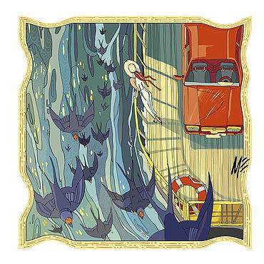 Аксессуары ручной работы. Ярмарка Мастеров - ручная работа Арт-платок с дизайнерским принтом 90х90 см - 3. Handmade.