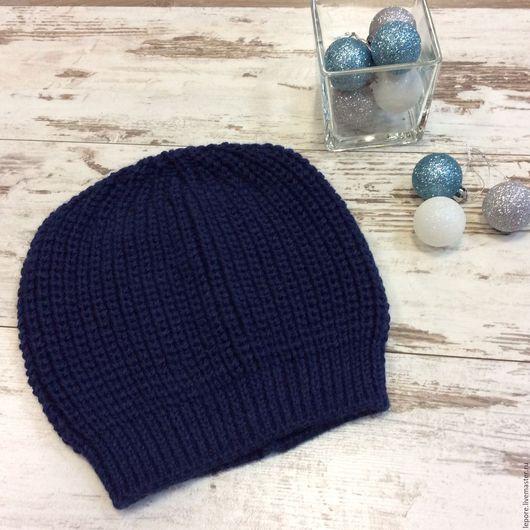 темно-синий; однотонный; вязаная шапка; альпака ; меринос;  ручная работа;   ручная авторская  работа;  теплая  шапка;   зимняя шапка;   головные уборы для женщин;   купить модную шапку