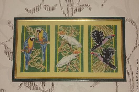 """Животные ручной работы. Ярмарка Мастеров - ручная работа. Купить вышивка триптих """"Экзотические птицы"""". Handmade. Вышивка крестом, птицы"""
