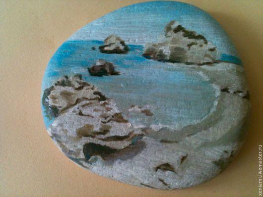 Пейзаж ручной работы. Ярмарка Мастеров - ручная работа. Купить Расписные камушки. Handmade. Разноцветный, морской стиль, камень натуральный