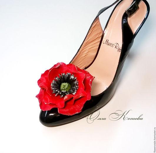 Украшения для ножек ручной работы. Ярмарка Мастеров - ручная работа. Купить Клипсы для туфель из кожи Красные маки красный с черным стиль. Handmade.