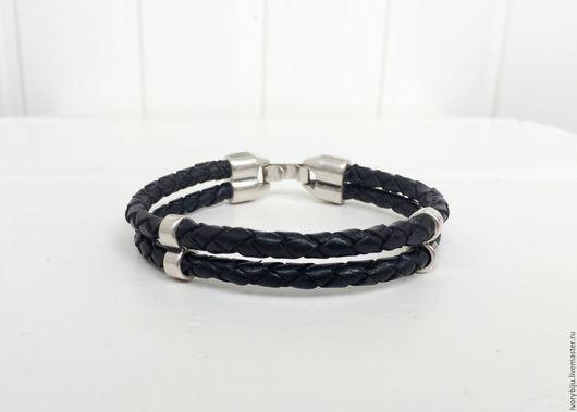 Браслеты ручной работы. Ярмарка Мастеров - ручная работа. Купить Мужской браслет из круглой плетеной кожи, двойной, черный. Handmade.