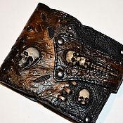 Портмоне мужское Кошелёк кожаный Бумажник Черепа