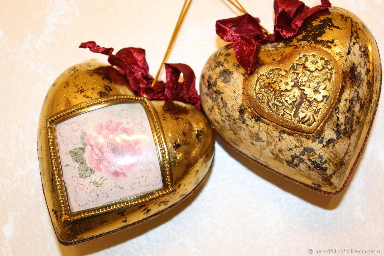 Interior toys, hearts ' Vintage gold', Suspension, St. Petersburg,  Фото №1