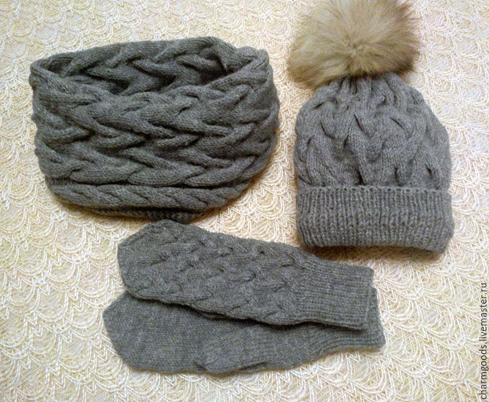 Set 'Macrame' - hat, Snood and mittens, Headwear Sets, Penza,  Фото №1