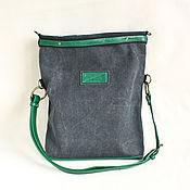 Сумки и аксессуары handmade. Livemaster - original item Canvas bag decorated with emerald green eco-leather. Handmade.