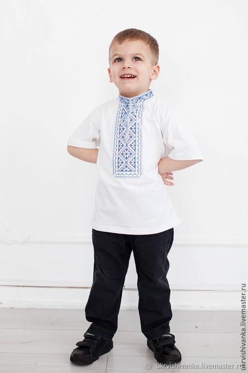 """Одежда для мальчиков, ручной работы. Ярмарка Мастеров - ручная работа. Купить Футболка для мальчика с вышивкой """"9022"""". Handmade. Синий"""