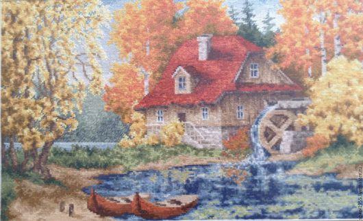 Пейзаж ручной работы. Ярмарка Мастеров - ручная работа. Купить Старая мельница. Handmade. Готовая картина, Вышивка крестом