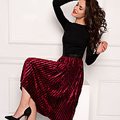 Одежда handmade. Livemaster - original item Pleated skirt made of velvet Bordeaux. Handmade.