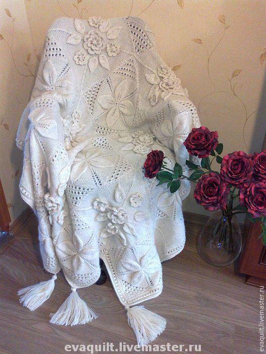Текстиль, ковры ручной работы. Ярмарка Мастеров - ручная работа. Купить Плед Афган. Handmade. Белый, подарок на любой случай