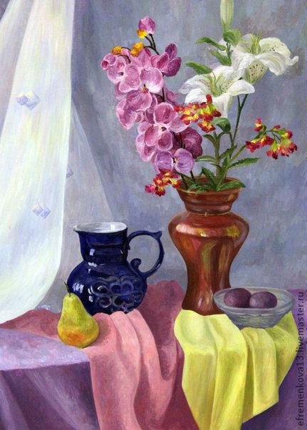 Натюрморт ручной работы. Ярмарка Мастеров - ручная работа. Купить Натюрморт с орхидеями и лилиями. Handmade. Фиолетовый, натюрморт, лилии, масло