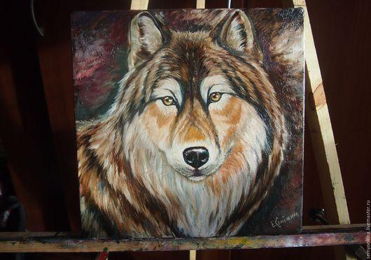 """Животные ручной работы. Ярмарка Мастеров - ручная работа. Купить Картина маслом """"Волк"""". Handmade. Масло, маленькая"""