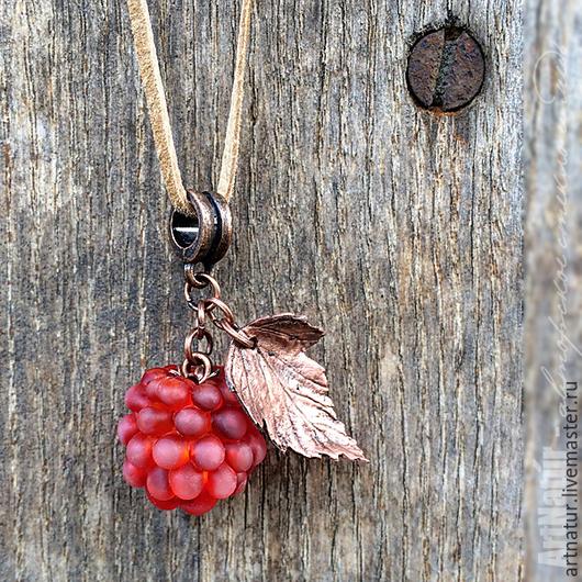 """Браслеты ручной работы. Ярмарка Мастеров - ручная работа. Купить Кулон - мини lampwork """"Княженика"""" - Rubus arcticus. Handmade."""
