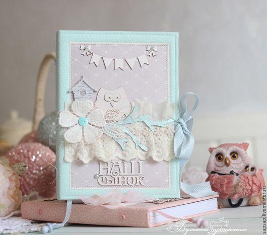 """Блокноты ручной работы. Ярмарка Мастеров - ручная работа. Купить Мальчишкина книжка """"Совушки"""". Handmade. Мятный, дневник мамы, тесьма"""
