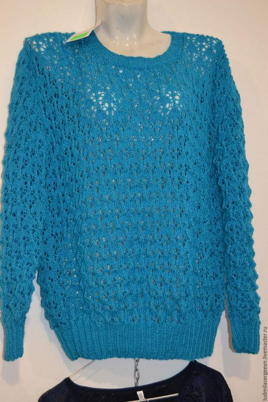 Кофты и свитера ручной работы. Ярмарка Мастеров - ручная работа. Купить Вязанный свитер. Handmade. Синий, свитер женский