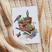 Открытки ручной работы. Ярмарка Мастеров - ручная работа Весенние хлопоты. Авторская открытка для посткроссинга. Handmade.