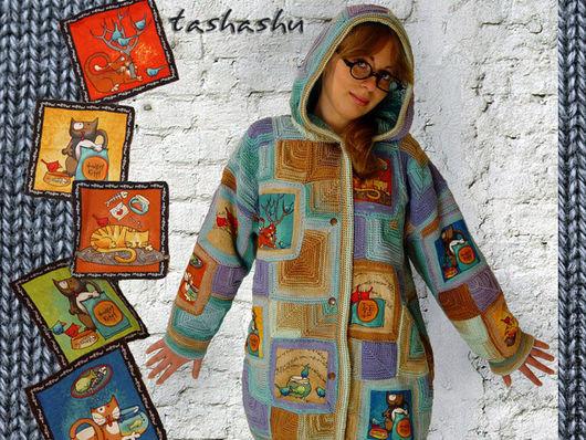 """Верхняя одежда ручной работы. Ярмарка Мастеров - ручная работа. Купить Вязаная куртка """"Теплые коты"""".. Handmade. Бирюзовый, коты"""