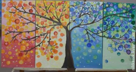 Пейзаж ручной работы. Ярмарка Мастеров - ручная работа. Купить Дерево. Handmade. Дерево, синий, коричневый, картина, масляные краски