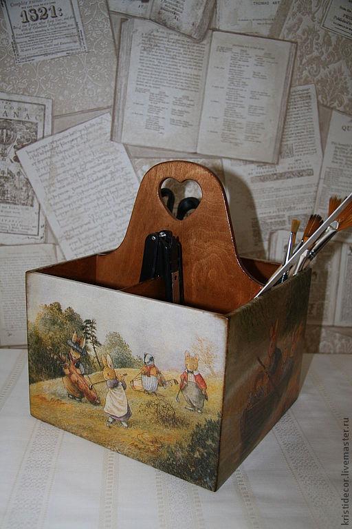 """Корзины, коробы ручной работы. Ярмарка Мастеров - ручная работа. Купить Короб-подставка """"Foxwood tales"""". Handmade. Подставка для карандашей"""