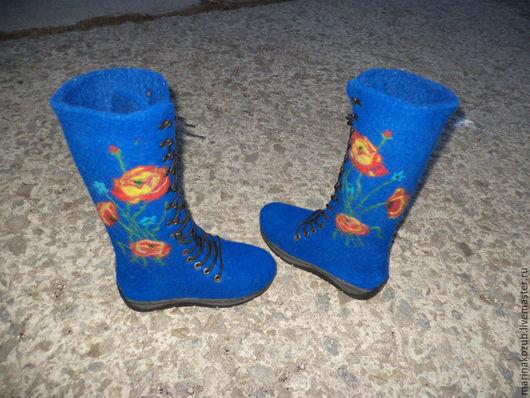 Обувь ручной работы. Ярмарка Мастеров - ручная работа. Купить ботинки женские Маки. Handmade. Тёмно-синий, маки