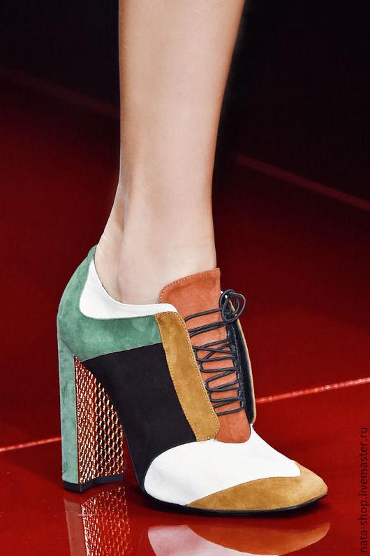 Обувь ручной работы. Ярмарка Мастеров - ручная работа. Купить Ботильоны из замши. Handmade. Комбинированный, ботильоны из кожи, сапоги