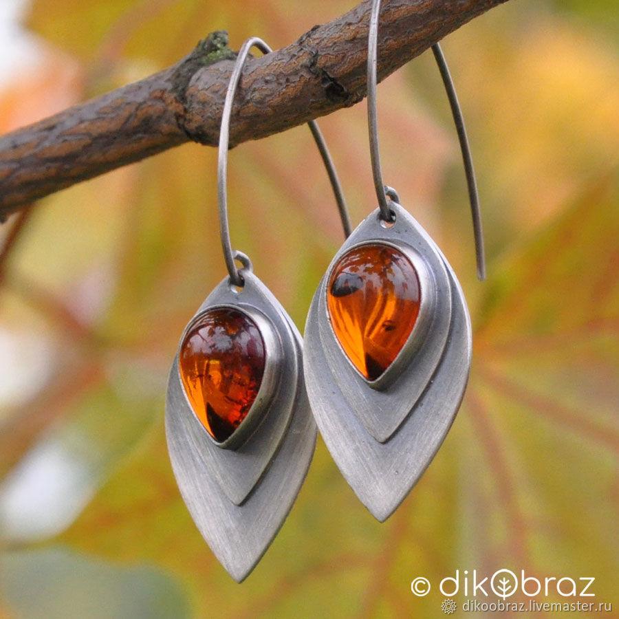 Earrings silver Amber leaf, Baltic amber, Earrings, Moscow,  Фото №1