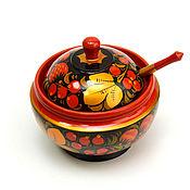 handmade. Livemaster - original item Painted sugar bowl with a spoon. vase for jam. Handmade.