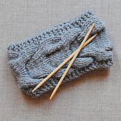 Аксессуары ручной работы. Ярмарка Мастеров - ручная работа Вязаная серая повязка на голову. Handmade.