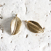 Материалы для творчества handmade. Livemaster - original item 1787_1_Позолоченная pendant mm 10х18, leaves Pendant,gold pendant.. Handmade.