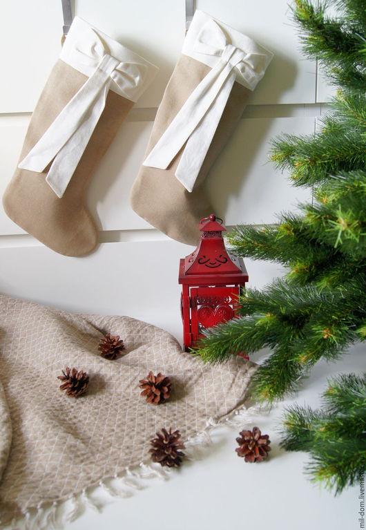 """Новый год 2017 ручной работы. Ярмарка Мастеров - ручная работа. Купить Носок для подарков """"Домашний уют""""  ( сапожок рождественский. Handmade."""