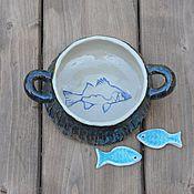 Посуда ручной работы. Ярмарка Мастеров - ручная работа Миска с рыбой.. Handmade.