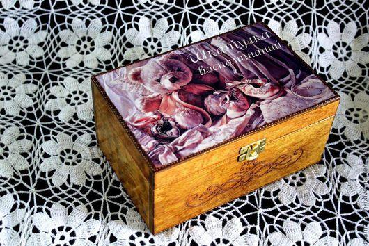 """Шкатулки ручной работы. Ярмарка Мастеров - ручная работа. Купить """"Шкатулка воспоминаний"""". Handmade. Бледно-розовый, шкатулка деревянная, мишка"""
