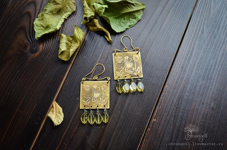 Boho earrings viola square brass earrings with beads, Earrings, Ulan-Ude,  Фото №1
