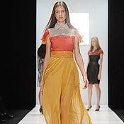 Одежда ручной работы. Ярмарка Мастеров - ручная работа Платье длинное кораллово- желто-серое  из  шифона НЕВЕСТА. Handmade.
