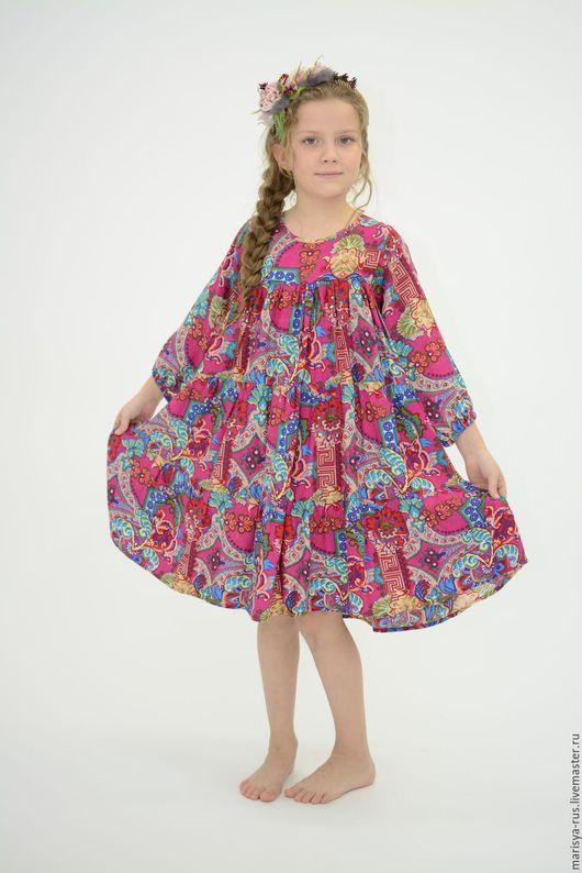 """Одежда ручной работы. Ярмарка Мастеров - ручная работа. Купить Платье для девочки """"Веселинка"""",штапель. Handmade. Фуксия, ручная работа"""