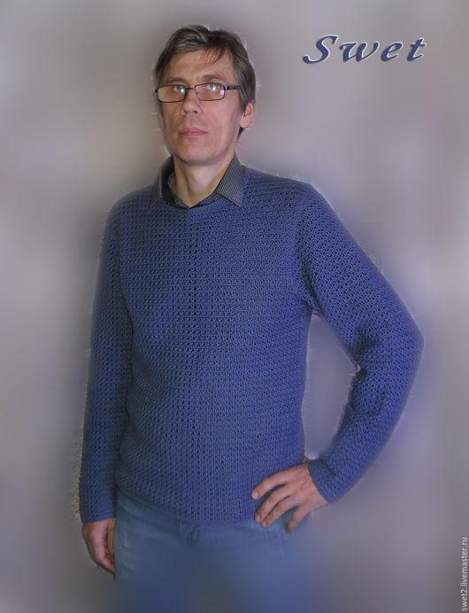 """Для мужчин, ручной работы. Ярмарка Мастеров - ручная работа. Купить Пуловер мужской крючком """"Классика"""". Handmade. Тёмно-синий"""