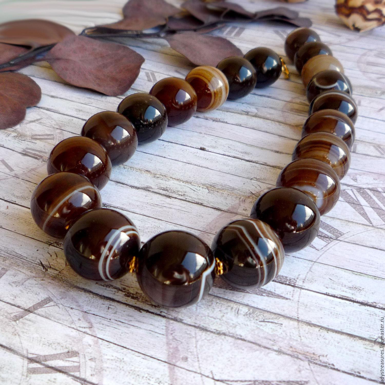 Irish Coffee - бусы, ожерелье из натуральных камней. Натуральный агат шоколадно-кофейный. Купить бусы колье ожерелье из натуральных камней. Бусы крупные.  Lady`s Treasures. Ярмарка Мастеров.