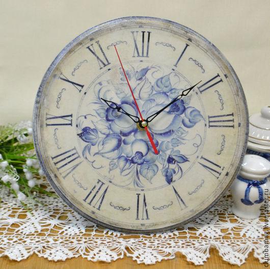 Часы для дома ручной работы. Ярмарка Мастеров - ручная работа. Купить Часы гжель. Handmade. Комбинированный, гжель, настенные часы