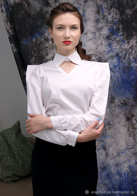 White women's cotton shirt, office shirt-blouse with collar, Blouses, Novosibirsk,  Фото №1