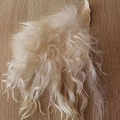 Материалы для творчества handmade. Livemaster - original item The skin of the goat # 19 (hair for dolls, white) Curls Curls for dolls. Handmade.