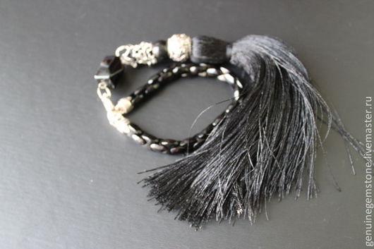 """Браслеты ручной работы. Ярмарка Мастеров - ручная работа. Купить Браслет""""Змейка"""". Handmade. Черный, черный камень, подарок на новый год, серебро"""