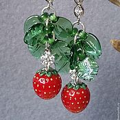 """Украшения ручной работы. Ярмарка Мастеров - ручная работа """"Сладкие ягодки"""" длинные серьги лэмпворк. Handmade."""