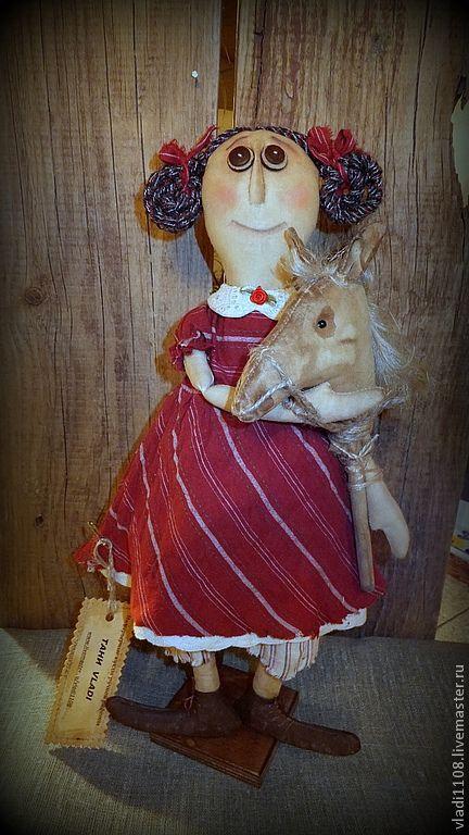 Ароматизированные куклы ручной работы. Ярмарка Мастеров - ручная работа. Купить Кира с лошадкой. Handmade. Чердачная кукла, винтаж, лён