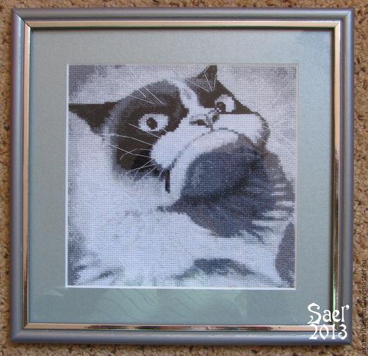`Сердитый кот` - авторская схема вышивки крестом.   Отшив моей схемы от  Saelka.jpg