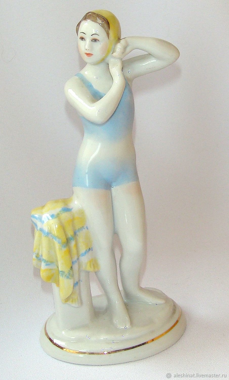 Young Swimmer Porcelain figurine Porcelain figurine, vintage USSR, Vintage interior, Saratov,  Фото №1