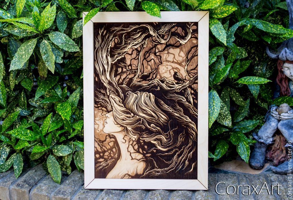 CoraxArt : Wood Wall Art ` Forest Nymph `, Wood Art,Nature Art,Engraving Wood,Laser Artwork,Modern Art, Home Decor,Wall Decor,Drawing,Illustration,Wood