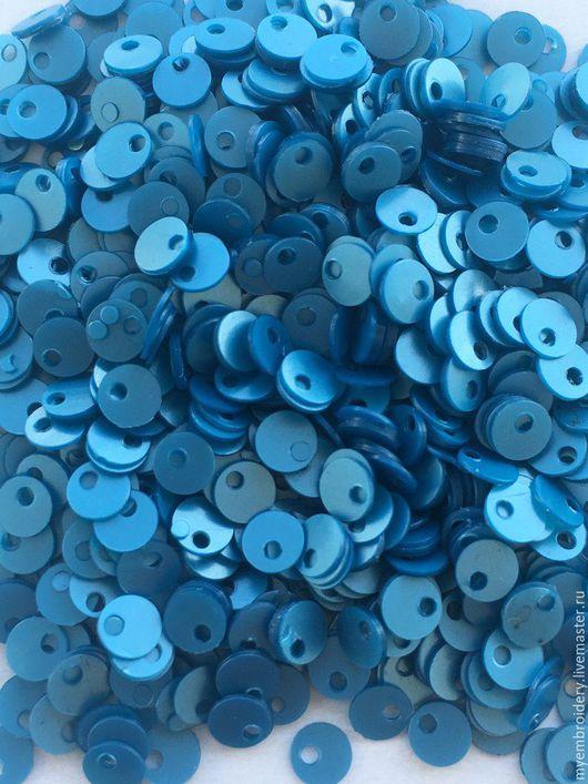 Вышивка ручной работы. Ярмарка Мастеров - ручная работа. Купить Пайетки 4 мм. Handmade. Тёмно-бирюзовый, пайетки пришивные